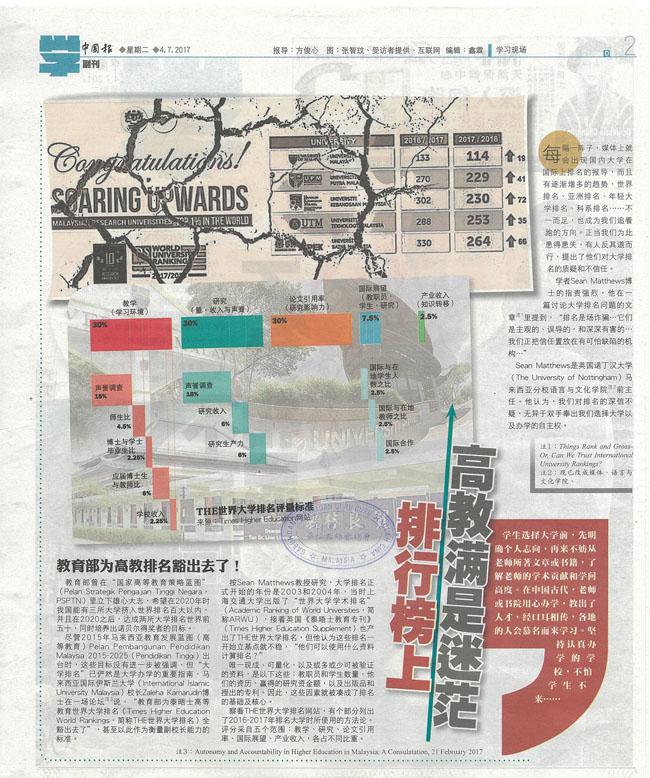《中国报》副刊:排行榜上 高教满是迷茫